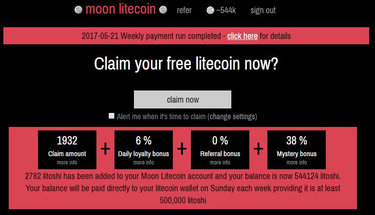 Faucet Moon Litecoin Paga